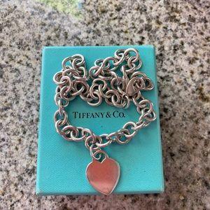 Tiffany Co. Plain Heart Tag Pendant Necklace